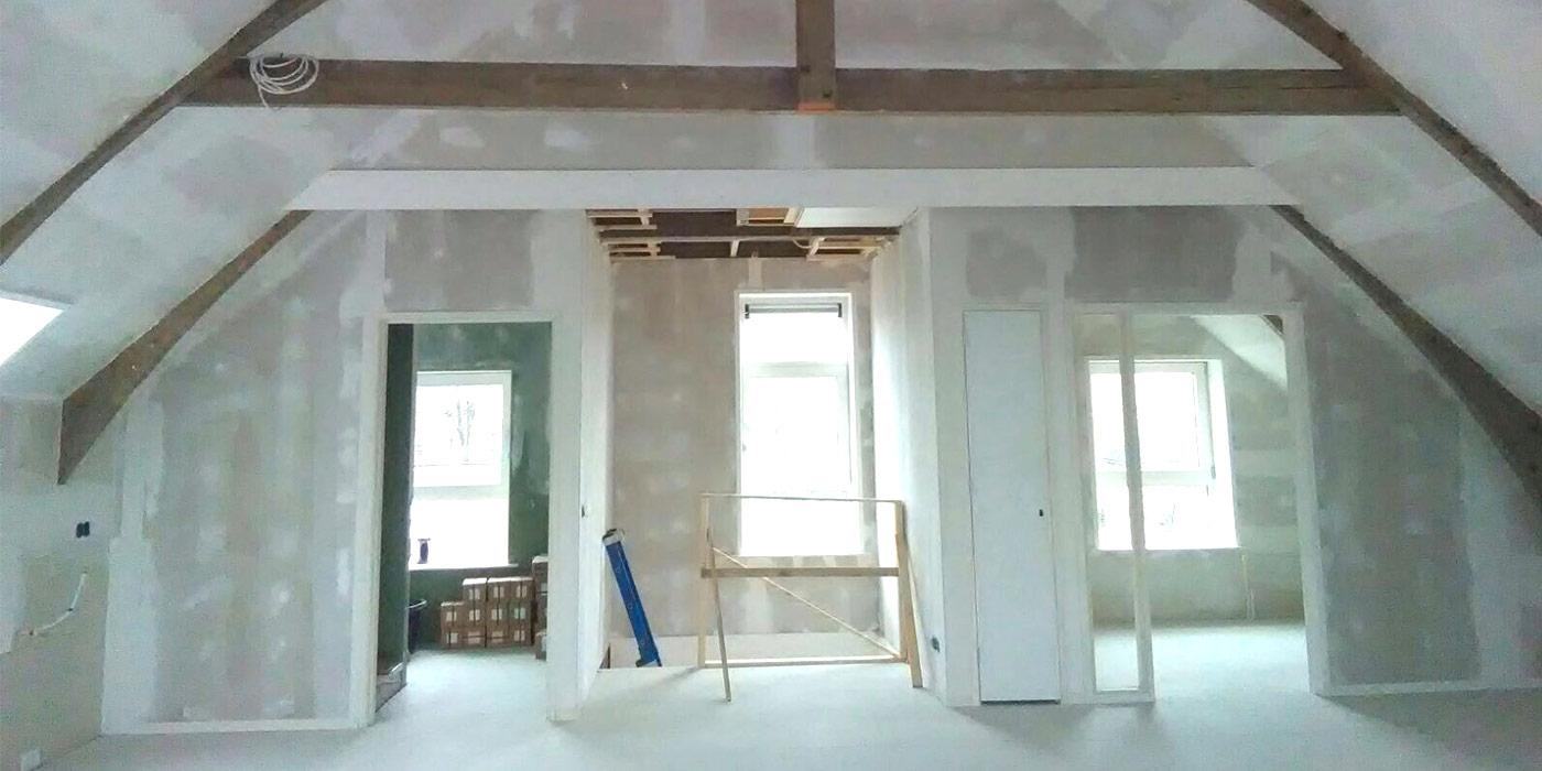 Verbouwing zolder tot kantoortuin + aanleg kap isolatie