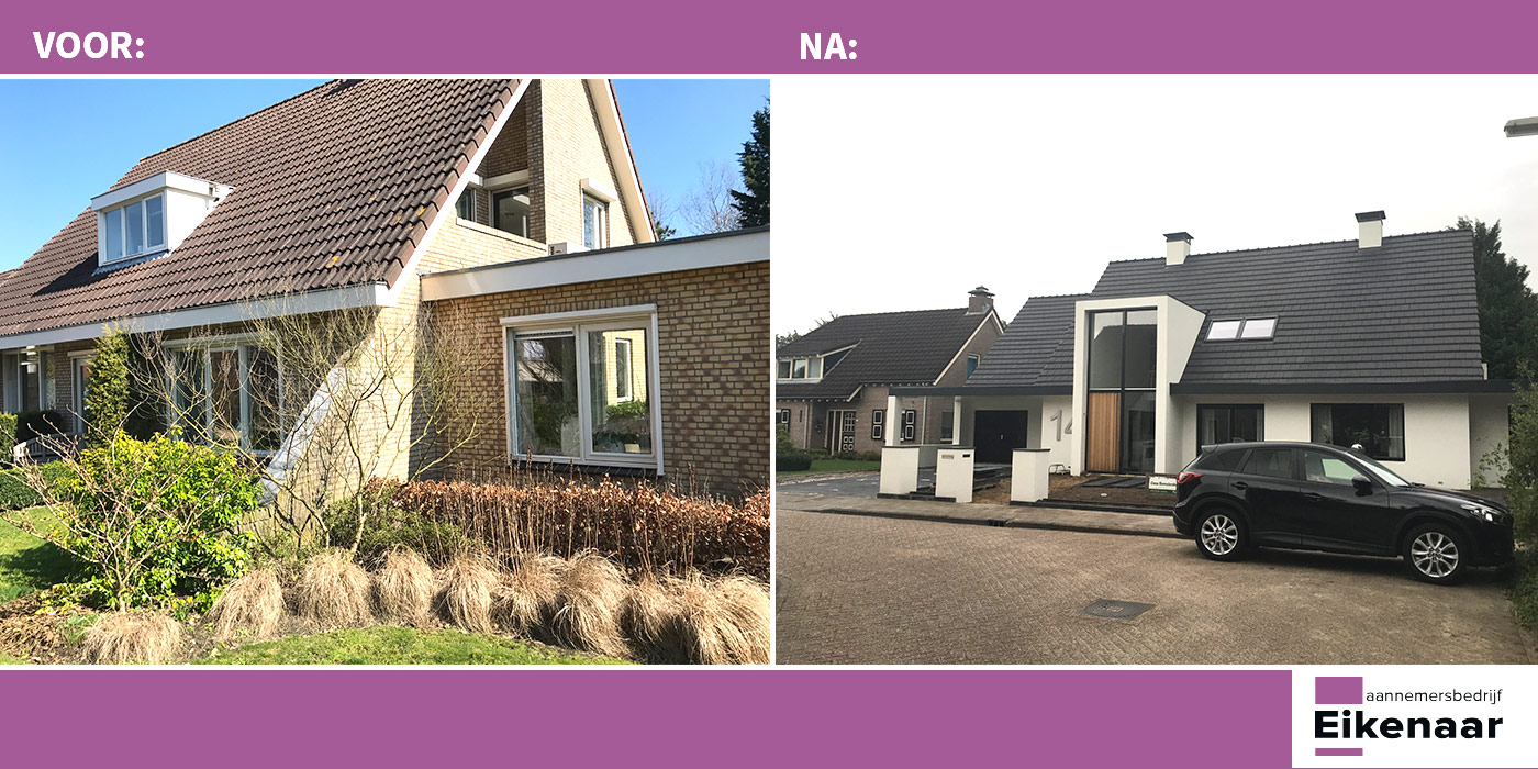 Renovatie bungalow - VOOR & NA situatie - Aannemersbedrijf Eikenaar BV Zwolle